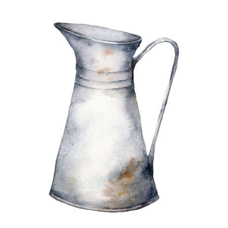 Watercolor vintage metal jug. Illustration isolated on white background. For design, print, interior or background.