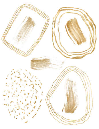 Watercolor abstract gold forms set. Hand painted illustrations for design, print or background. 免版税图像 - 156280860