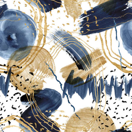 Watercolor seamless pattern with dark blue and golden textures. Hand painted abstract beautiful illustration isolated on white background for design, print, fabric or background.