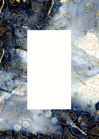 Watercolor classic blue vertical card with gold shells. Hand painted line art frame with underwater animals. Marine illustration for design, print, fabric or background. 免版税图像