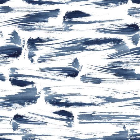 Watercolor seamless pattern with abstract blue texture. Hand painted sea or ocean abstract background. Aquatic illustration for design, print or background.