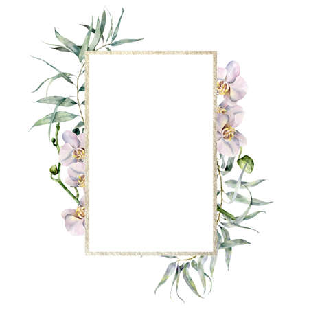 Watercolor gold frame with white orchids and eucalyptus branch. Hand painted tropical border with flowers and leaves isolated on white background. Floral illustration for design, print, background. 免版税图像 - 157141920