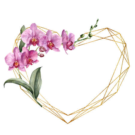 Watercolor gold frame with heart and pink orchids. Hand painted polygonal border with flowers and leaves isolated on white background. Botanical illustration of love. Greeting template for design.