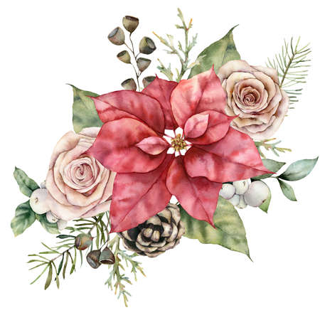 Watercolor christmas bouquet with red poinsettia, pink roses and pine cones. Hand painted flowers, leaves and snowberries isolated on white background. Illustration for design, print or background.