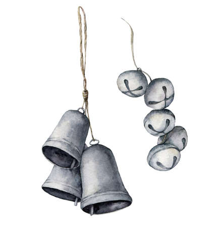 Watercolor bells set. Hand painted silver bells and bells garland isolated on white background. Collection of New Year decor. Holiday illustration for design, print, fabric or background.