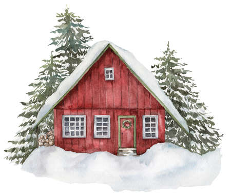 Watercolor red house in winter forest. Hand painted illustration with fir trees and snow isolated on white background. Holiday card for design, print, fabric or background. 免版税图像 - 157308671