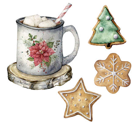 Watercolor Christmas set with silver mug, pastry and cocoa. Hand painted cup, marshmallow and cookies isolated on white background. Holiday symbols. Seasonal trendy illustration for design or print.