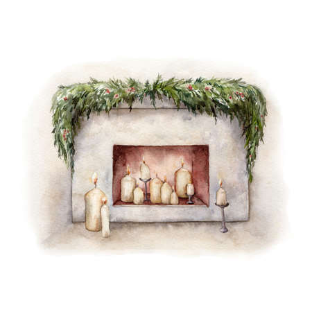 Watercolor Christmas card with fireplace and holiday candles. Hand painted winter illustration with fir branches isolated on white background. Holiday card for design, print, fabric or background. Imagens