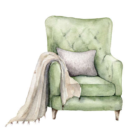 Watercolor card with armchair, pillow and blanket. Hand painted winter house illustration isolated on white background. Holiday card for design, print, fabric or background. 免版税图像