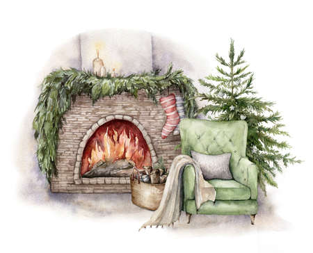 Watercolor winter card with fireplace, armchair and christmas tree. Hand painted holiday illustration with interior objects isolated on white background for design, print, fabric or background. Stockfoto