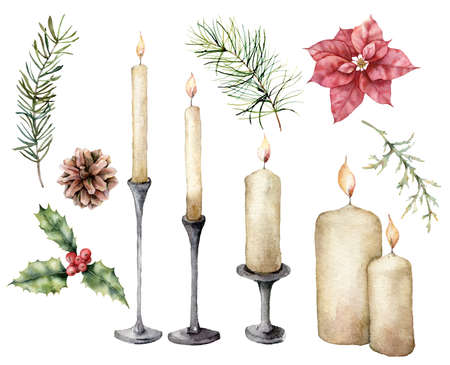 Watercolor Christmas set with candles, flower and pine branches. Hand painted pine cone, poinsettia and holly isolated on white background. Illustration for design, fabric, print or background.