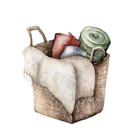 Watercolor composition with basket and blankets. Hand painted holiday objects isolated on white background. Illustration for design, print, fabric or background. 免版税图像