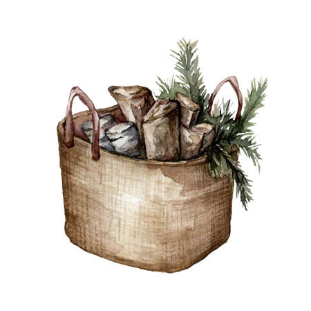 Watercolor composition with basket, fir branches and firewood. Hand painted winter card isolated on white background. Illustration for design, print, fabric or background. 免版税图像 - 157385891