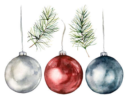 Watercolor Christmas tree toys and branches set. Hand painted New Year decor isolated on white background. Holiday illustration for design, print, fabric or background. 免版税图像 - 157386133