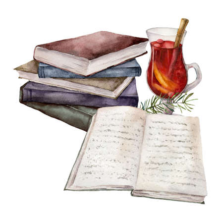 Watercolor card with mulled wine, cinnamon and books. Hand painted wine glass and fir branch isolated on white background. Winter illustration for design, print, fabric or background.