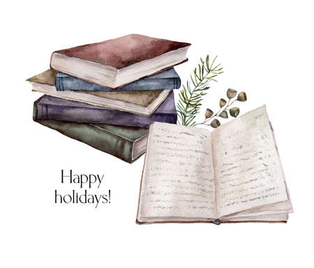Watercolor Christmas composition with books and fir branches. Hand painted winter greeting card with stack of books isolated on white background. Illustration for design, print, fabric or background.