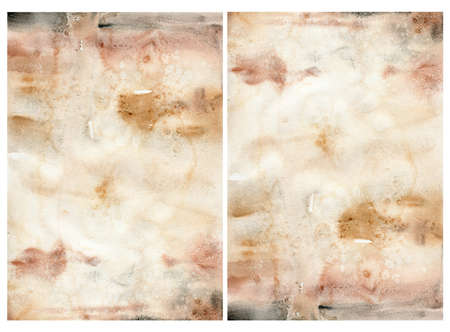 Watercolor abstract background with beige, red, pink and yelllow spots. Hand painted pastel illustration isolated on white background. For design, print, fabric or background.