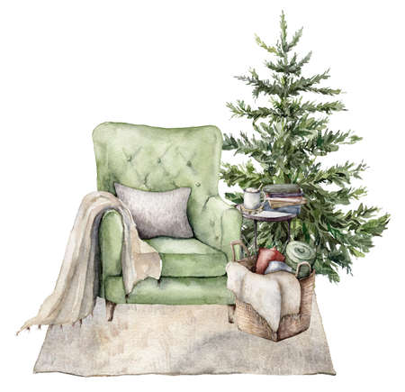 Watercolor winter card with Christmas interior. Hand painted holiday illustration with armchair, carpet, christmas tree and book isolated on white background. For design, print, fabric or background. 免版税图像