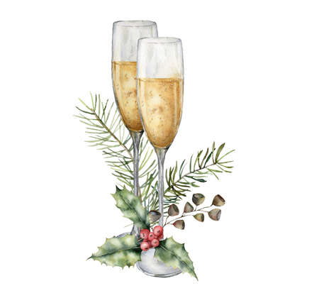 Watercolor Christmas card with wine glasses and holly. Hand painted white wine isolated on white background. Holiday symbols. Seasonal trendy illustration for design or print.