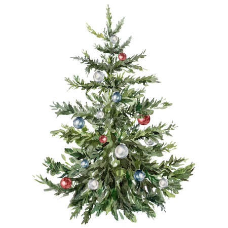 Watercolor Christmas tree with toys. Hand painted New Year tree with Cristmas ball isolated on white background. Holiday illustration for design, print, fabric or background. 免版税图像