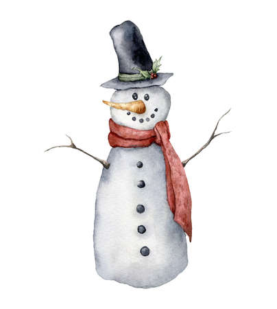 Watercolor snowman. Hand painted Christmas illustration with hat, scarf and carrot isolated on white background. Holiday card for design, print, fabric or background. 免版税图像