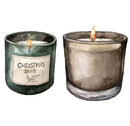 Watercolor Christmas scented candles. Hand painted winter holiday illustration with green and brown sparkling candles isolated on white background. For design, print, fabric or background.