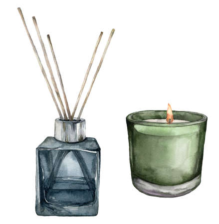 Watercolor Christmas scented candle and aroma diffuser with sticks. Hand painted winter holiday illustration isolated on white background. For design, print, fabric or background. 免版税图像