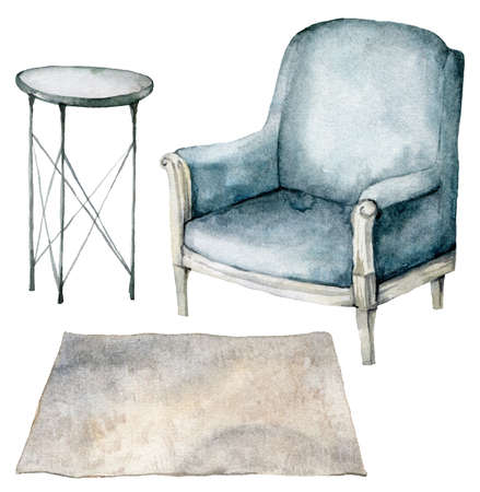 Watercolor home furniture set with armchair, table and carpet. Hand painted holiday illustration with interior objects isolated on white background for design, print or background. 免版税图像