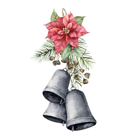 Watercolor Christmas bouquet with red poinsettia, bells and pine needle. Hand painted holiday flower, leaves and seeds isolated on white background. Illustration for design, print or background.