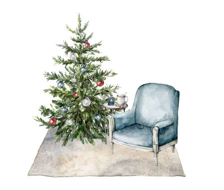 Watercolor Christmas interior with armchair, christmas tree, table and coffee. Hand painted winter holiday illustration isolated on white background. For design, print, fabric or background.