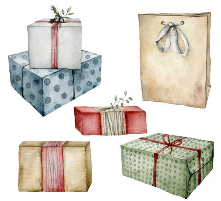 Watercolor Christmas set with gift boxes and package. Hand painted colorful boxes with bows isolated on white background. Holiday illustration for design, print, fabric, background.