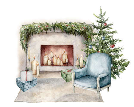 Watercolor winter card with armchair, fireplace, gift boxes and christmas tree. Hand painted holiday illustration with interior objects isolated on white background for design, print or background.