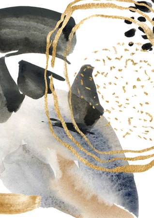 Watercolor abstract poster with blue, black, beige and gold spots. Hand painted pastel illustration isolated on white background. For design, print, fabric or background.