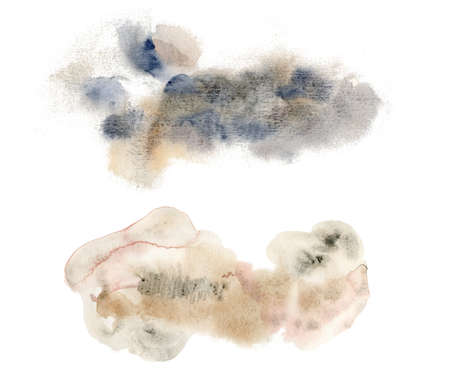 Watercolor holiday set with abstract beige and blue spots. Hand painted winter illustration isolated on white background. For design, print, fabric or background.