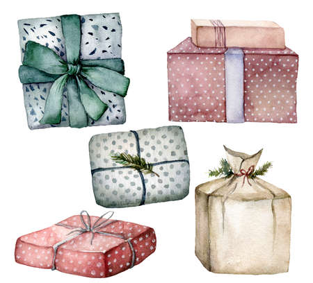 Watercolor Christmas composition with package and gift boxes. Hand painted card with colorful boxes with bows isolated on white background. Holiday illustration for design, print, fabric, background. 免版税图像