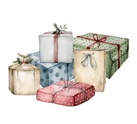 Watercolor Christmas composition with gift boxes and package. Hand painted card with colorful boxes with bows isolated on white background. Holiday illustration for design, print, fabric, background.