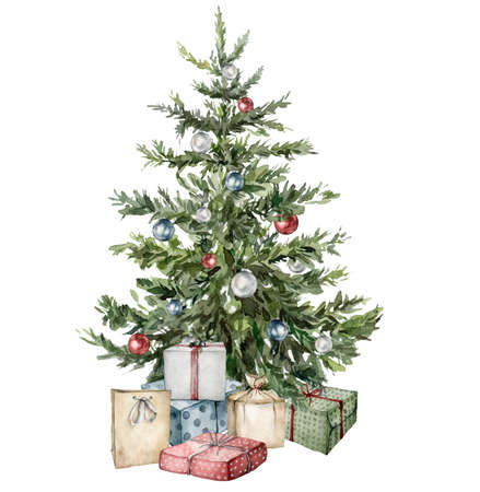Watercolor Christmas tree with gift boxes and toys. Hand painted New Year tree with Christmas ball isolated on white background. Holiday illustration for design, print, fabric or background. 免版税图像