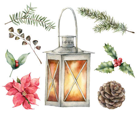 Watercolor Christmas set with lantern, coniferous branches, pine cone, berries and holly. Hand painted holiday symbols isolated on white background. Seasonal trendy illustration for design or print.