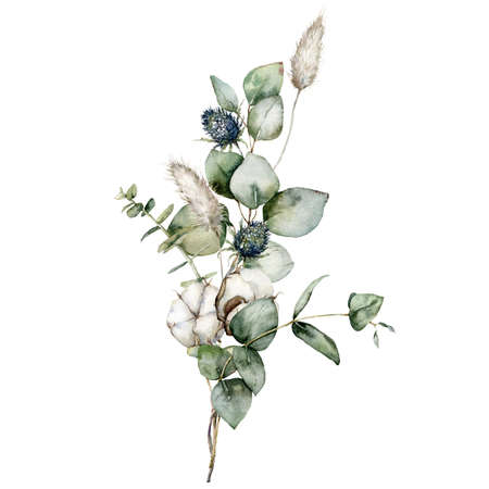 Watercolor bouquet of dried flowers with eucalyptus, lagurus, blue Thistle and cotton. Hand painted holiday card isolated on white background. Illustration for design, print or background. 免版税图像