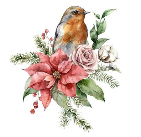 Watercolor Christmas bouquet with robin redbreast, poinsettia, roses and fir branches. Hand painted holiday card with flowers isolated on white background. Illustration for design, print, background.