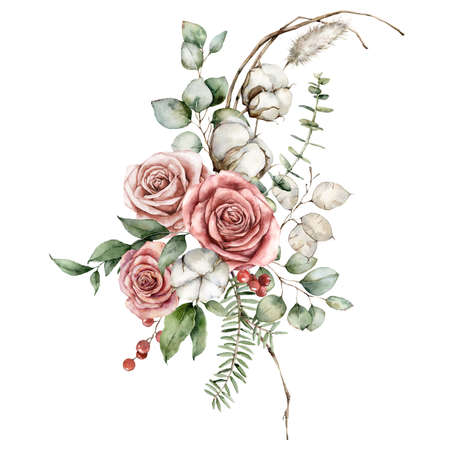 Watercolor Christmas bouquet of dried flowers with eucalyptus, lagurus, pink roses and cotton. Hand painted holiday card isolated on white background. Illustration for design, print or background. Stock Photo