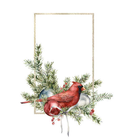 Watercolor Christmas gold frame with cardinal bird, bow, toys and pine needle. Hand painted holiday bird and balls isolated on white background. Illustration for design, print, interior or background.