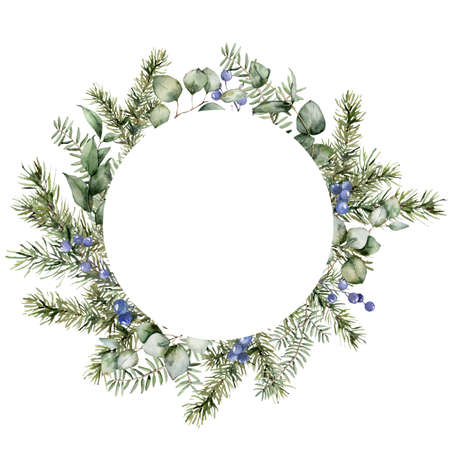 Watercolor Christmas circle frame with fir, eucalyptus branches and berries. Hand painted holiday plants isolated on white background. Floral illustration for design, print, fabric or background.