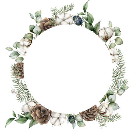 Watercolor Christmas circle frame with pine cones, eucalyptus leaves, fir branches and cotton flowers. Hand painted holiday illustration isolated on white background. For design, print or background. Imagens