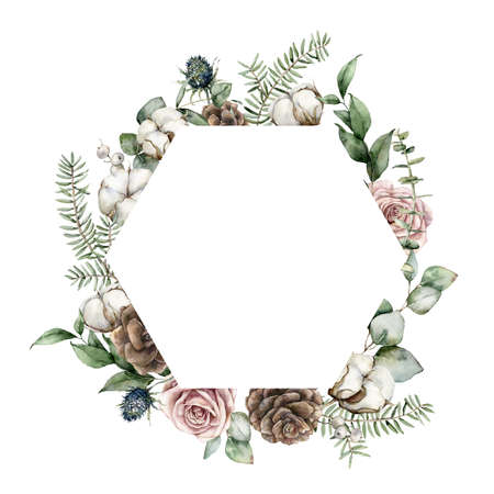 Watercolor Christmas frame with roses, pine cones, eucalyptus leaves, fir branches and cotton flowers. Hand painted holiday illustration isolated on white background. For design, print or background.