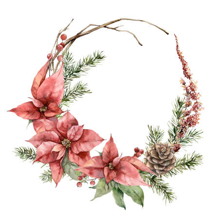 Watercolor Christmas wreath with poinsettia, pine cone and fir branches. Hand painted holiday card with flowers isolated on white background. Illustration for design, print, fabric or background.