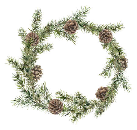 Watercolor Christmas wreath with fir branches and pine cones. Hand painted holiday frame with plants isolated on white background. Floral illustration for design, print, fabric or background. Imagens