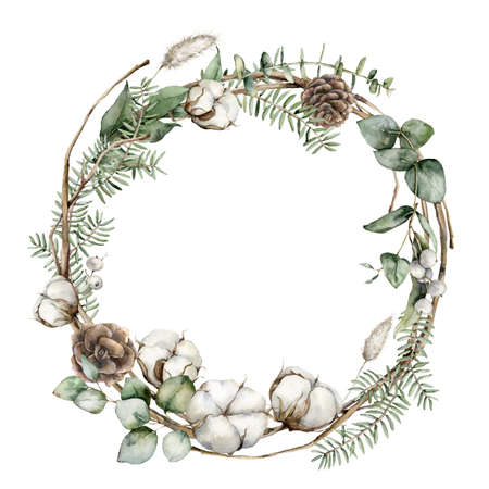 Watercolor Christmas wreath with fir branches, cotton and lagurus. Hand painted holiday frame with plants isolated on white background. Floral illustration for design, print, fabric or background.