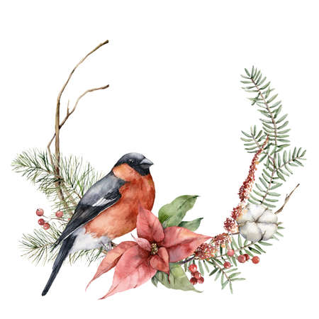 Watercolor Christmas wreath with bullfinch bird, poinsettia and fir branches. Hand painted holiday card with flowers isolated on white background. Illustration for design, print, fabric or background.