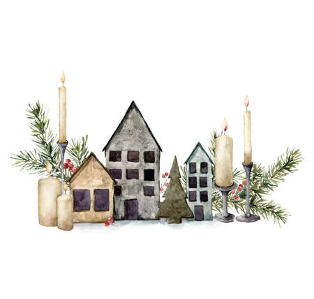 Watercolor Christmas composition with houses, candles and fir branches. Hand painted holiday composition isolated on white background. Illustration for design, print, fabric or background.